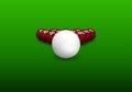 Snooker pyramid balls shiny on green background vector illustration Stock Photo
