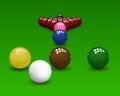Snooker pyramid balls shiny on green background vector illustration Royalty Free Stock Photos