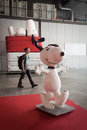 Snoopy statue at cartoomics milan italy march on display event dedicated to comics cartoons cosplay fantasy and gaming on march in Stock Photos
