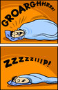 Snoring man cartoon comic illustration concept of funny sleeping Royalty Free Stock Photography