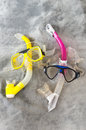 Snorkel and Mask Pair on Gray Royalty Free Stock Photo