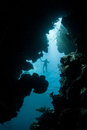 Snorkeler above underwater crevice a is silhouetted a narrow in a coral reef in raja ampat indonesia the beautiful islands of this Stock Photo