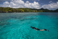 Snorkeler and tropical lagoon a explores a reef in palau s palau is a micronesian island group known for its high marine Stock Image