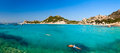 Snorkelers at cala corsara cove in sardinia panoramic view of maddalena archipelago Stock Photography