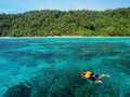 Snorkeling couple at andaman sea thailand Royalty Free Stock Photography