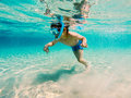 Snorkeling in greece boy having fun Royalty Free Stock Photography