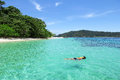 Snorkeling sea in thailand the island is forest green and corals tourism of Stock Photography