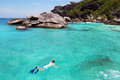 Snorkeling in thailand on similan islands andaman sea Royalty Free Stock Photos