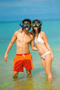 Snorkelling At Beach Royalty Free Stock Image