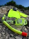 Snorkling mask and fins Royalty Free Stock Images