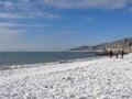 Snow at the Black Sea coast Sochi, Russia
