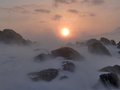 Snow blizzard at the sunset arctic spitsbergen svalbard Stock Photos