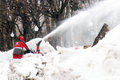 Snow blower cleans the street from snow gorky park taken on in moscow russia Stock Photo