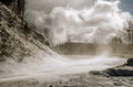 Snow Blowing Across a Road Royalty Free Stock Photo