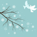 snow branches with birds Royalty Free Stock Photo