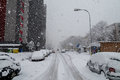 Snow calamity in bratislava slovakia huge snow flakes th january Stock Images
