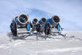 Snow cannons five blue for making Stock Photo