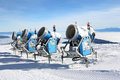 Snow cannons four blue for making Royalty Free Stock Photo
