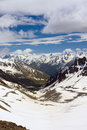 Snow capped Caucasus mountains Stock Image