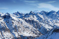 Snow capped mountains dombay russia Royalty Free Stock Image