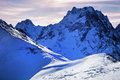 Snow capped mountains dombay russia Stock Photography