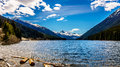 The snow capped peak of Mount Rohr at the south end of Duffey Lake Royalty Free Stock Photo
