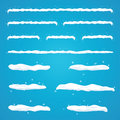 Snow caps set on site menu bar and buttons. Snowflakes and icicles. New year decoration kit for website Royalty Free Stock Photo