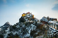 Snow China Zhejiang Jiuhua Hilltop temple Snow Stock Image