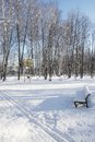 Snow covered bench in a sunny winter day xxxl empty ski track and basketball backboard Royalty Free Stock Photos