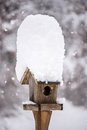 A snow covered bird house in winter Royalty Free Stock Photo