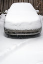 Snow covered car in in a blizzard in chicago Stock Images