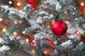 Snow covered Christmas tree with hanging Red Ornament Royalty Free Stock Photo