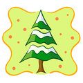 Snow covered christmas tree illustration of pine with abstract background Royalty Free Stock Photography