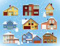 Snow covered city houses vector illustration of in the winter Royalty Free Stock Images