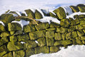 Snow Covered Dry Stone Wall Royalty Free Stock Photo