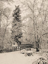 Snow covered foot path with bridge Royalty Free Stock Photo