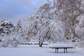 Snow covered garden table wooden in with thick layer of Stock Photos