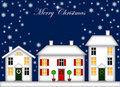 Snow-Covered Houses Christmas Decoration Night Royalty Free Stock Image