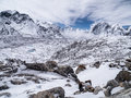 Snow Covered Landscape in the Himalayan Mountains Royalty Free Stock Photo