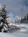 Snow Covered Little Butte Creek Royalty Free Stock Images