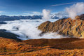 Snow-covered mountains in the mist. Autumn at Koruldi Lake. Euro Royalty Free Stock Photo