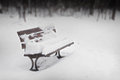 Snow Covered Park Bench Royalty Free Stock Photo