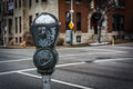 Snow covered parking meter in Charles North, Baltimore, Maryland Royalty Free Stock Photo