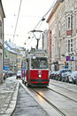 Snow covered rails in the city vienna austria nov oebb streetcar vienna passes by on on november vienna austria oebb exists since Royalty Free Stock Photography