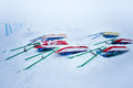 Rescue sleds standing near chairlift at ski resort