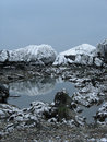 Snow-covered rocks Royalty Free Stock Images