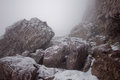Snow covered rocks and ice cover these below challenger point a foot mountain in colorado Royalty Free Stock Photos