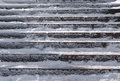 Snow covered stair case composition slippery abstract winter background Royalty Free Stock Photo