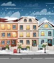 Snow-covered street with colorful houses lights bench red mailbox and bushes in vases cartoon style vector illustration website pa Royalty Free Stock Photo