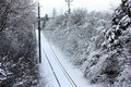 Snow-Covered Trolley Tracks Royalty Free Stock Image